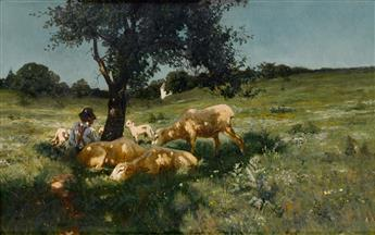 HENRY OSSAWA TANNER (1859 - 1937) Boy and Sheep under a Tree.
