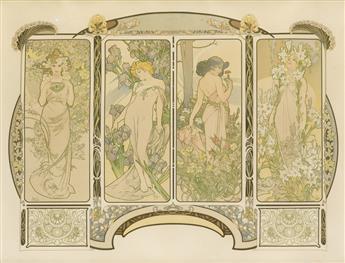 ALPHONSE MUCHA (1860-1939). [LES FLEURS.] 1900. 19x25 inches, 49x64 cm. [F. Champenois, Paris.]