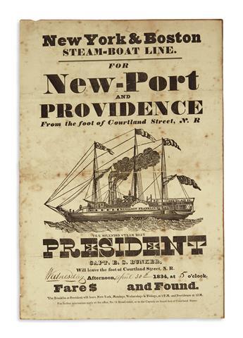 (RHODE ISLAND.) New York & Boston Steam-Boat Line, for New-Port and Providence . . . the Splendid Steam Boat President.