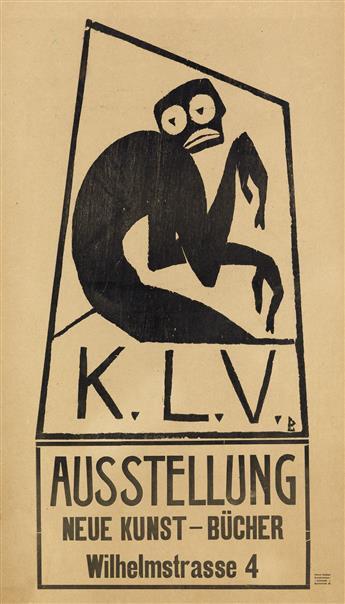 DESIGNER UNKNOWN. K.L.V. / AUSSTELLUNG NEUE KUNST - BÜCHER. 25x14 inches, 63x36 cm. Eduard Roether Buchdruckerei, Darmstadt.