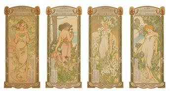 ALPHONSE MUCHA (1860-1939). [LES FLEURS] / E • P A LA VIOLETTE. Four panel calendar. 1902. Each 14x6 inches, 36x16 cm.