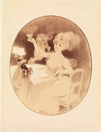 JULES-ALEXANDRE GRÜN (1868-1938). [NEW YEARS EVE.] 1907. 17x13 inches, 43x33 cm.