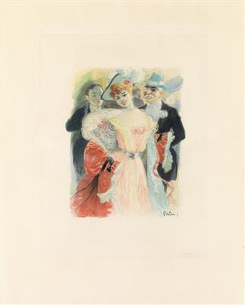 JULES-ALEXANDRE GRÜN (1868-1938). [COUPLE EN TENUE DE SOIREE.] Aquatint. Circa 1900. 22x17 inches, 56x45 cm.