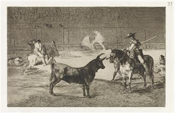 FRANCISCO JOSÉ DE GOYA Group of 6 aquatints with etching from La Tauromaquia.