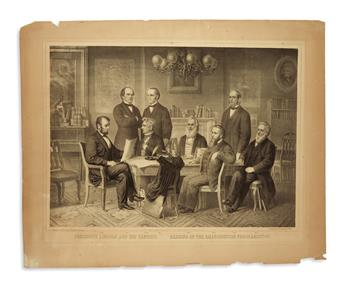 (PRINTS--EMANCIPATION.) Herline, Edward. President Lincoln and his Cabinet, Reading of the Emancipation Proclamation.