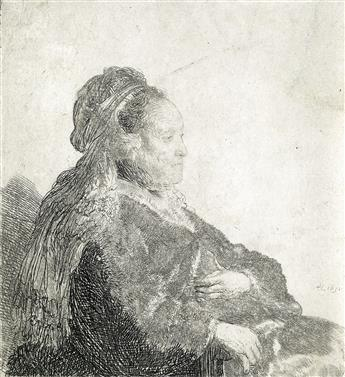 REMBRANDT VAN RIJN The Artists Mother Seated, in an Oriental Headdress: Half Length.