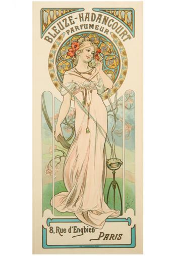 ALPHONSE MUCHA (1860-1939). BLEUZE - HADANCOURT PARFUMEUR. Circa 1899. 24x10 inches, 61x27 cm. F. Champenois, Paris.