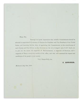 (PRESIDENTS--1860 CAMPAIGN.) Letcher, John. Letter seeking election commissioners--and pointedly ignoring Lincoln.