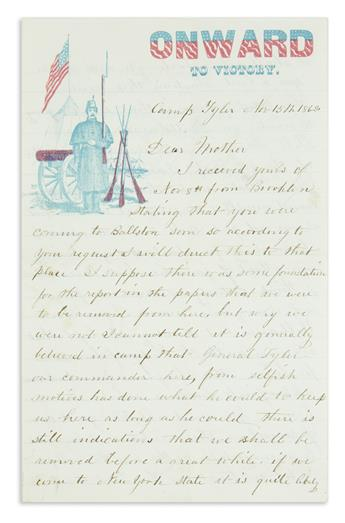 (CIVIL WAR--NEW YORK.) Staples, John P. Large archive of letters describing the Battle of Fort Fisher and more.