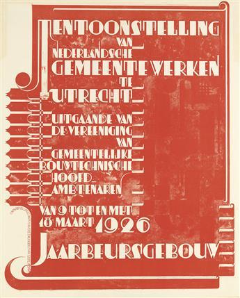 ANTOON KURVERS (1889-1940). TENTOONSTELLING VAN NEDERLANDSCHE GEMEENTEWERKEN TE UTRECHT. 1926. 38x31 inches, 97x80 cm. Van Leer, Amster