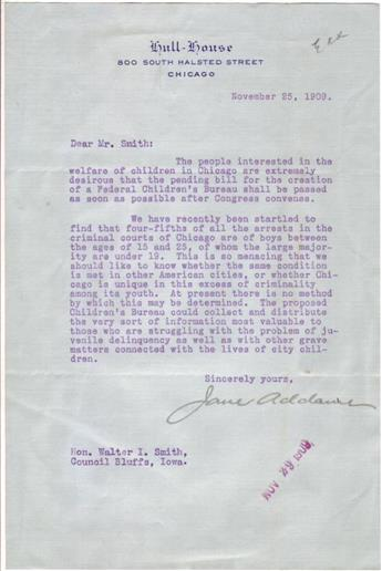 ADDAMS, JANE. Typed Letter Signed, to Walter I. Smith,