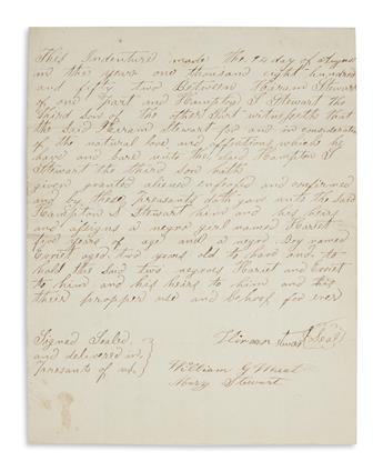 (SLAVERY AND ABOLITION.) Pair of Mississippi slave deeds from the same family.