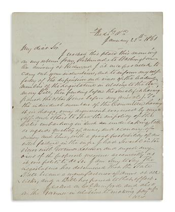 (CIVIL WAR--CONFEDERATE.) Hunter, T. Letter negotiating large sales of Colt weapons to Virginia a year before the Civil War.