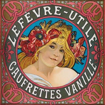 ALPHONSE MUCHA (1860-1939). LEFÈVRE - UTILE / GAUFRETTES VANILLE. Biscuit tin label. Circa 1900. 6x6 inches, 17x17 cm.