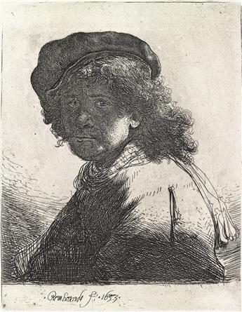 REMBRANDT VAN RIJN Self Portrait in a Cap and Scarf with the Face Dark: Bust