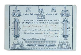 (VIRGINIA.) Group of 8 Virginia marriage licenses.