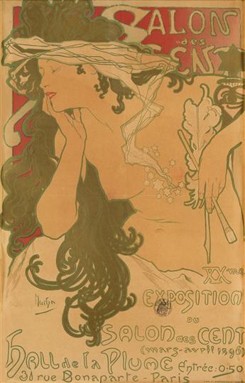 ALPHONSE MUCHA (1860-1939). SALON DES CENT. 1896. 24x15 inches, 62x39 cm. F. Champenois, Paris.