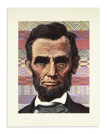(PRINTS--MODERN.) Group of 13 modern prints of Lincoln by notable artists.