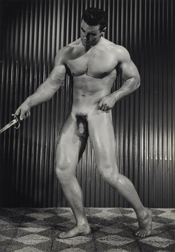 BRUCE OF LA (BRUCE BELLAS) (1909-1974)  Binder containing 100 photographs of hunky bodybuilders arranged by Bruces inventory numbers,