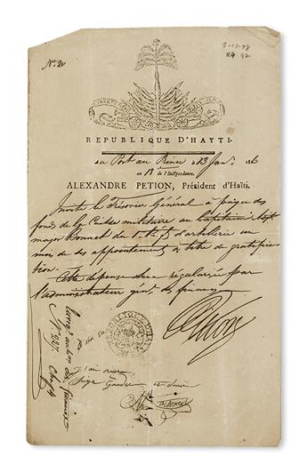 (HAITI.) Group of 30 documents from the Petion period, most signed by him.