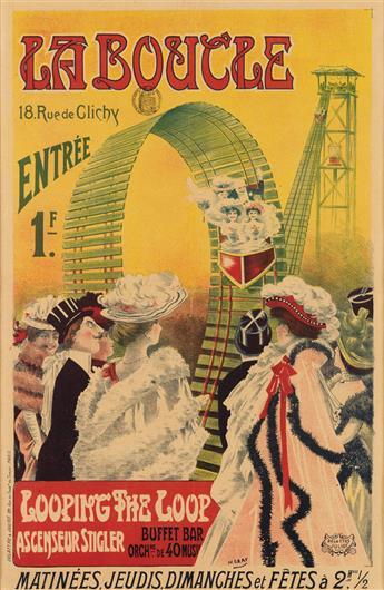 H. GRAY (HENRI BOULANGER, 1858-1924). LA BOUCLE / LOOPING THE LOOP. 22x14 inches, 57x37 cm. Delattre & Juliot, Paris.