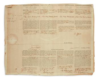 TWO PRESIDENTS THOMAS JEFFERSON. Partly-printed Document Signed, Th: Jefferson, as President, 4-language sh...