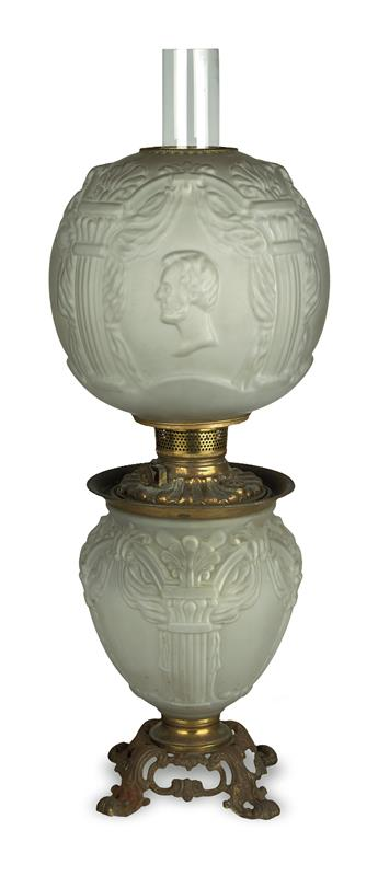 (REALIA.) Bowl-on-bowl commemorative hurricane lamp featuring portraits of Lincoln and Washington.