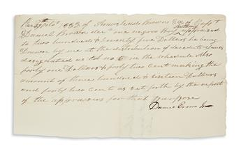 (SLAVERY AND ABOLITION.) Group of 3 receipts for slaves owned by the Brown family of Culpeper County, Virginia.