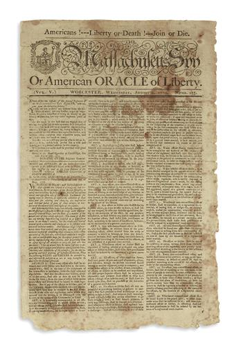 (AMERICAN REVOLUTION--1775.) Issue of the Massachusetts Spy featuring the Rules and Articles for the Better Government of the Troops.