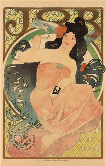 ALPHONSE MUCHA (1860-1939). JOB. 1898. 60x38 inches, 153x98 cm. F. Champenois, Paris.