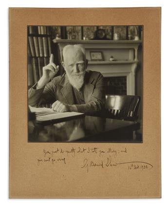 SHAW, GEORGE BERNARD. Photograph Signed and Inscribed, G. Bernard Shaw: