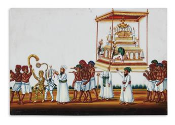 (INDIAN WATERCOLORS.) Approximately 65 miniature watercolor and gouache paintings on mica,