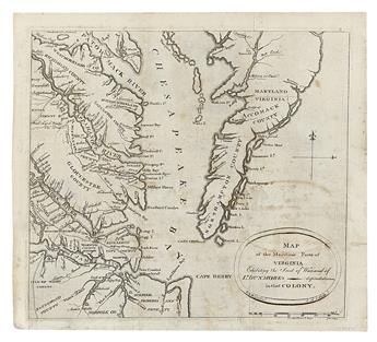 AITKEN, ROBERT; and SIMITIERE, PIERRE EUGENE du. Map of the Maritime parts of Virginia exhibiting the Seat of War
