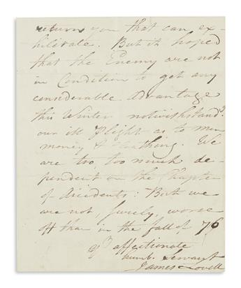 LOVELL, JAMES. Autograph Letter Signed, to Dear Sir,