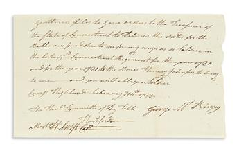 (AMERICAN REVOLUTION.) SWIFT, HEMAN. Autograph Document Signed, attest. H:Swift Col, note written on behalf of George McKinsey of the