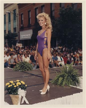 (BEAUTY PAGEANT--MISS AMHERST, MASSACHUSETTS) Group of 49 photographs from an outdoor beauty pageant.
