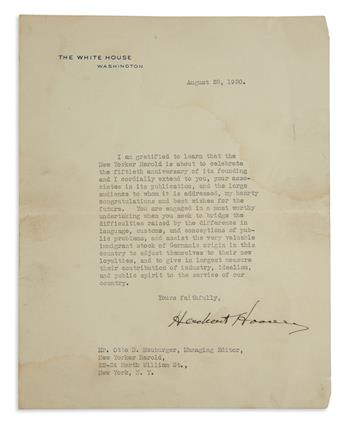 HERBERT HOOVER. Typed Letter Signed, as President, to editor of German-language newspaper New Yorker Herold Otto S...