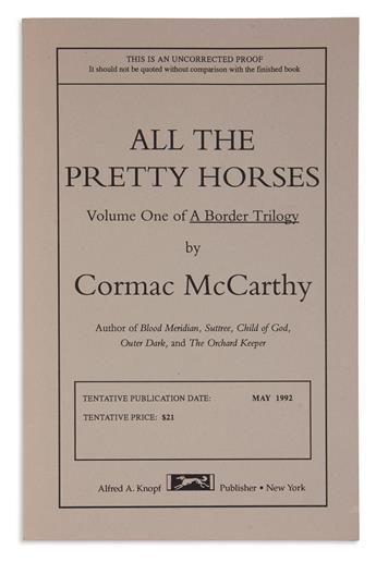 MCCARTHY, CORMAC. All the Pretty Horses * Cities of the Plain.