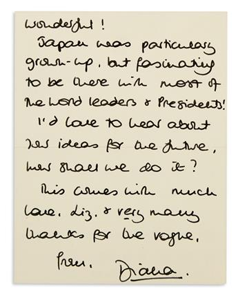 DIANA; PRINCESS OF WALES. Autograph Letter Signed, Diana, to Elizabeth Tilberis,