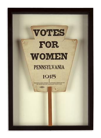 (WOMEN.) Suffrage fan titled Votes for Women, Pennsylvania, 1915.