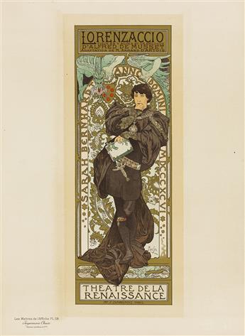 ALPHONSE MUCHA (1860-1939). LORENZACCIO. Maîtres de lAffiche pl. 114. 1898. 15x11 inches, 39x28 cm. Chaix, Paris.