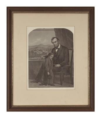 (PRINTS--MEMORIAL.) Group of 6 framed prints issued after Lincolns death.