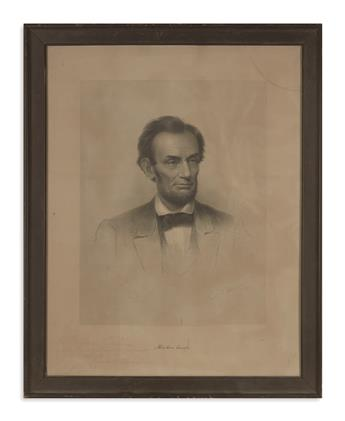 (PRINTS--MEMORIAL.) Halpin, Frederick W., engraver; after Carpenter. Engraved portrait of Lincoln, inscribed by the artist