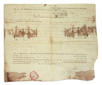 PATRICK HENRY. Partly-printed vellum Document Signed, P. Henry, as Governor, land deed granting 2,000 acres in...