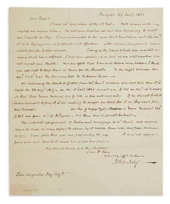 JOHN JAY. Autograph Letter Signed, Your very aff[ectiona]te Father / John Jay, to his son Peter, reporting on...
