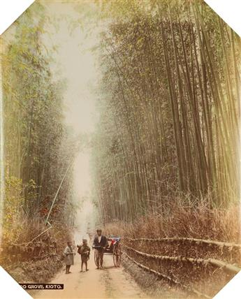 (TOKYO, YOKOHAMA, KYOTO, ET AL.) A pair of Japanese albums with fine hand-coloring.