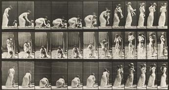 EADWEARD MUYBRIDGE (1830-1904) Mother picking up baby, plate 214 * Baby crawling, plate 471, from Animal Locomotion.