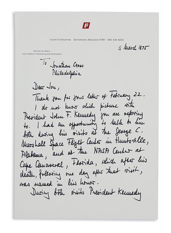 BRAUN, WERNHER VON. Autograph Letter Signed, to Jonathan Cross,