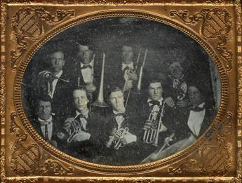 (OCCUPATIONALS AND PORTRAITS) Half-plate daguerreotype portrait depicting 9 members of a brass band, most of whom are shown with instru
