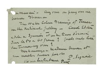 SIGNAC, PAUL. Autograph Postcard Signed, P. Signac, to publisher Edmond Deman, in French,